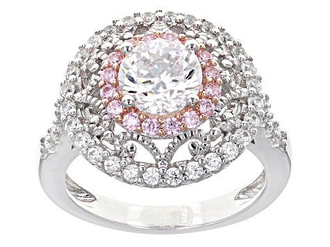 Pink And White Cubic Zirconia Rhodium And 18k Rose Gold Over Sterling Ring 3.35ctw