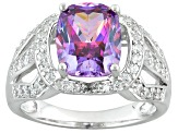 Purple & White Zirconia from Swarovski ® Rhodium Over Silver Ring 5.95ctw