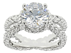 White Cubic Zirconia Rhodium Over Sterling Silver Ring 4.68ctw