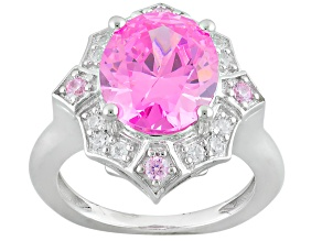 Pink And White Cubic Zirconia Rhodium Over Sterling Silver Ring 9.15ctw
