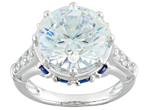 Blue And White Cubic Zirconia Rhodium Over Sterling Silver Ring 14.28ctw