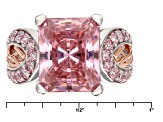 Pink And White Cubic Zirconia Rhodium And 18k Rose Gold Over Sterling Ring 13.26ctw