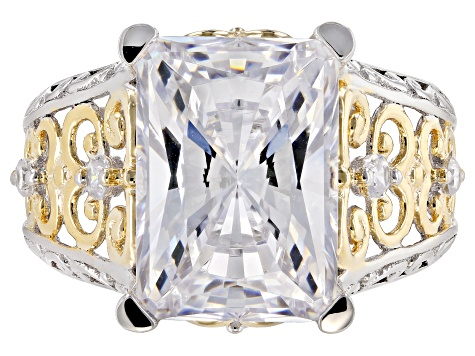 White Cubic Zirconia Rhodium And 18k Yellow Gold Over Sterling Silver Ring 14.82ctw