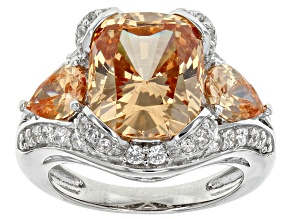 Brown And White Cubic Zirconia Rhodium Over Sterling Silver Ring 14.92ctw