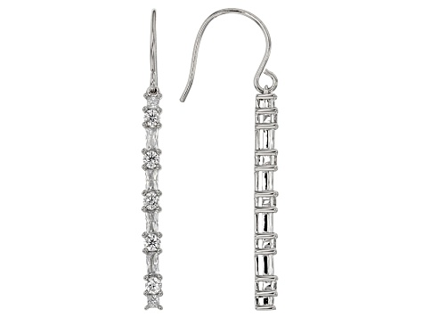 White Cubic Zirconia Rhodium Over Sterling Silver Earrings 3.04ctw