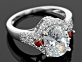 Red And White Cubic Zirconia Rhodium Over Sterling Silver Ring 4.95ctw