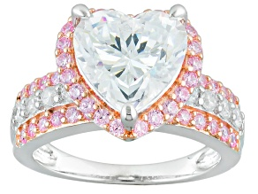 Pink And White Cubic Zirconia Rhodium And 18k Rose Gold Over Sterling Heart Ring 6.87ctw