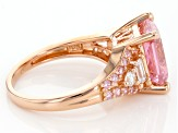 Pink And White Cubic Zirconia 18k Rose Gold Over Sterling Silver Ring 7.44ctw
