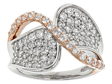 White Cubic Zirconia Rhodium And 18k Rose Gold Over Sterling Silver Ring 2.33ctw