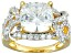 White Cubic Zirconia 18k Yellow Gold Over Sterling Silver Ring. 8.62ctw