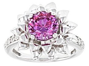 Swarovski ® Purple Zirconia & White Cubic Zirconia Rhodium Over Silver Ring 3.75ctw