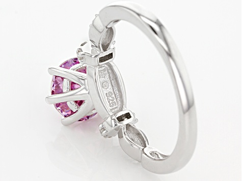 Purple And White Zirconia From Swarovski ® Rhodium Over Silver Ring 3.73ctw