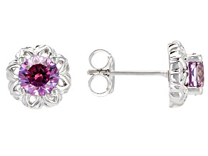 Purple And White Zirconia From Swarovski ®  Rhodium Over Silver Earrings 2.86ctw