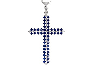 Blue And White Cubic Zirconia Rhodium Over Sterling Pendant With Chain 3.70ctw