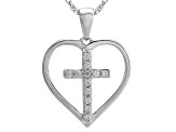 White Cubic Zirconia Rhodium Over Sterling Siver Pendant With Chain .17ctw