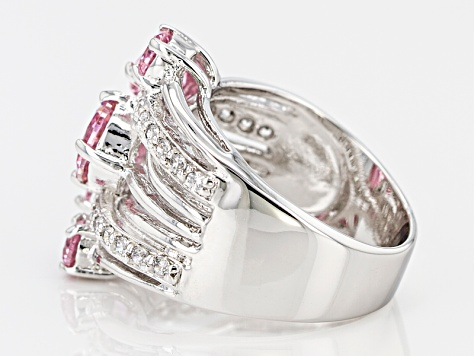 Pink And White Cubic Zirconia Rhodium Over Sterling Silver Ring 5.73ctw