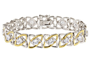 White Cubic Zirconia Rhodium Over Sterling & 18k Yellow Gold Over Sterling Bracelet 8.8ctw