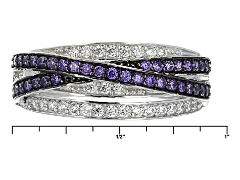 d2438e2e127db Purple And White Cubic Zirconia Black And White Rhodium Over Sterling  Silver Ring 1.10ctw