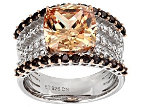 Brown, Mocha, And White Cubic Zirconia Rhodium & 18k Rose Gold Over Silver Ring 9.13ctw