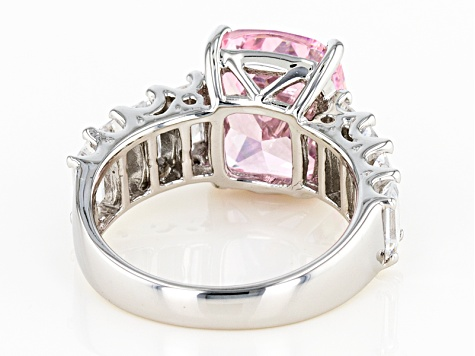 Pink And White Cubic Zirconia Rhodium Over Sterling Silver Ring 13.16ctw