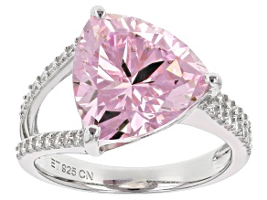 Pink And White Cubic Zirconia Rhodium Over Sterling Silver Ring 10.75ctw