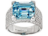 Blue And White Cubic Zirconia Rhodium Over Sterling Silver Ring 11.49ctw