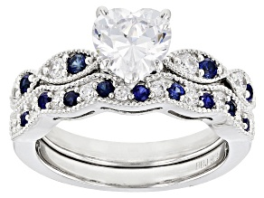 Synthetic Sapphire And White Cubic Zirconia Rhodium Over Sterling Ring With Band 2.63ctw