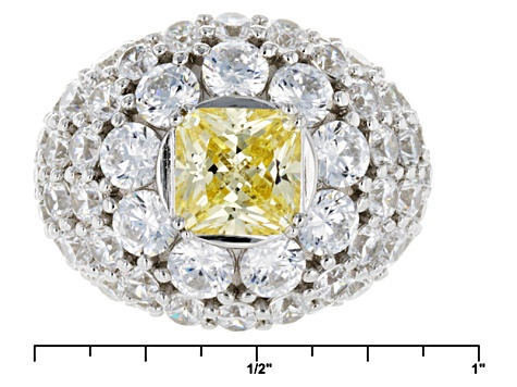 Yellow And White Cubic Zirconia Rhodium Over Sterling Silver Ring 10.43ctw