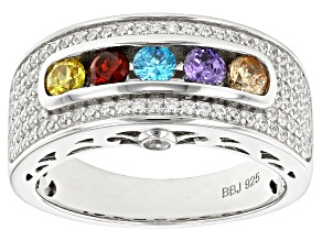 Yellow, Blue, Brown, Purple, Red, & White Cubic Zirconia Rhodium Over Sterling Ring 1.76ctw