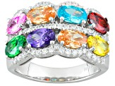 Multicolor Cubic Zirconia Rhodium Over Sterling Silver Ring 5.73ctw