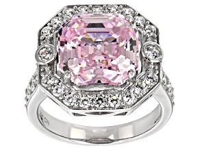 Pink And White Cubic Zirconia Rhodium Over Sterling Silver Ring 14.58ctw