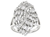 White Cubic Zirconia Rhodium Over Sterling Silver Irng 4.39ctw
