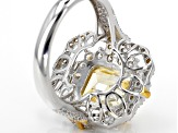 Yellow And White Cubic Zirconia Rhodium Over Sterling Silver Ring 8.52ctw