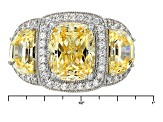 Yellow And White Cubic Zirconia Rhodium Over Sterling Silver Ring 9.67ctw