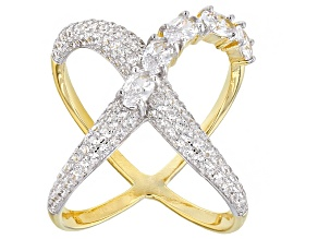 White Cubic Zirconia Rhodium Over Sterling Silver And 18k Over Sterling Silver Ring 2.88ctw