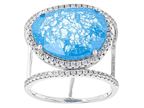 Blue And White Cubic Zirconia Rhodium Over Sterling Silver Ring 16.62ctw
