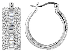 White Cubic Zirconia Rhodium Over Sterling Silver Earrings 6.94ctw