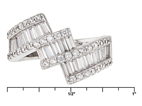 White Cubic Zirconia Rhodium Over Sterling Silver Ring 2.13ctw