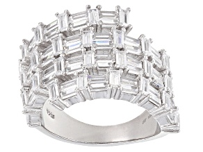 White Cubic Zirconia Rhodium Over Sterling Silver Ring 5.85ctw