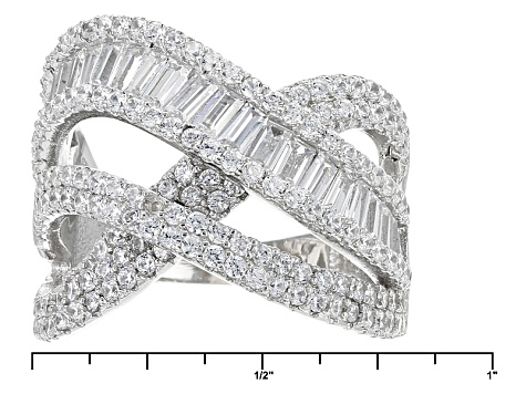 White Cubic Zirconia Rhodium Over Sterling Silver Ring 3.11ctw