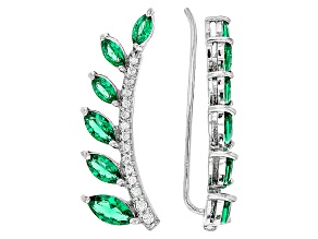 Green Nanocrystal & White Cubic Zirconia Rhodium Over Sterling Climber Earrings 1.31ctw