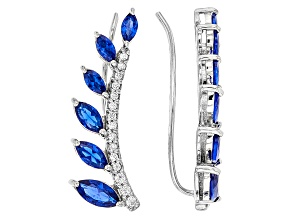 Lab Created Sapphire & White Cubic Zirconia Rhodium Over Sterling Climber Earrings 1.53ctw