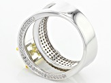 Yellow And White Cubic Zirconia Rhodium Over Sterling Silver Ring 5.66ctw
