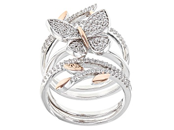 Picture of White Cubic Zirconia Rhodium & 18k Rose Gold Over Sterling Silver Ring 1.08ctw