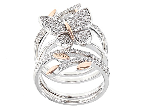 White Cubic Zirconia Rhodium & 18k Rose Gold Over Sterling Silver Ring 1.08ctw