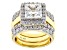 White Cubic Zirconia Rhodium & 18k Yellow Gold Over Sterling Silver Ring 8.65ctw
