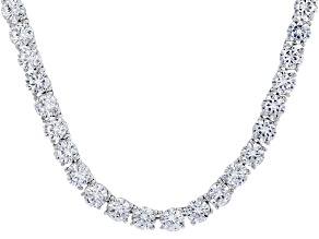 White Cubic Zirconia Rhodium Over Sterling Silver Necklace 135.85ctw