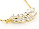 White Cubic Zirconia 18k Yellow Gold Over Sterling Silver Necklace 4.30ctw