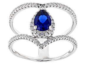 Synthetic Blue Spinel And White Cubic Zirconia Rhodium Over Sterling Silver Ring 2.01ctw