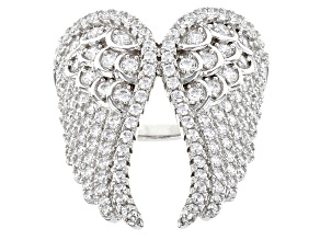 White Cubic Zirconia Rhodium Over Sterling Silver Angel Wing Ring 6.30ctw